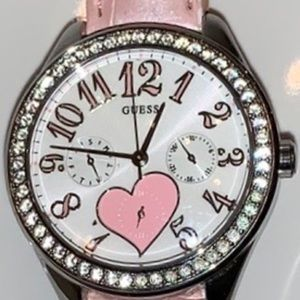 Guess Crystal Pink Heart Crocodile Leather Band